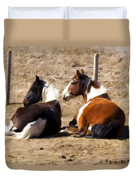 Painted Horses I Duvet Cover