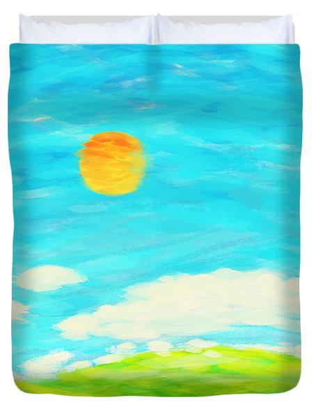 Painting Of Nature In Spring And Summer Duvet Cover by Setsiri Silapasuwanchai