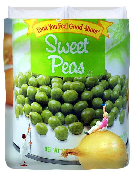Painting Sweet Peas Poster Duvet Cover by Paul Ge