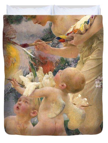 Painting The Birds Duvet Cover by Franz Dvorak