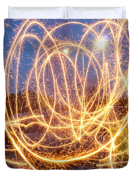 Painting With Sparklers Duvet Cover by Gordon Dean II