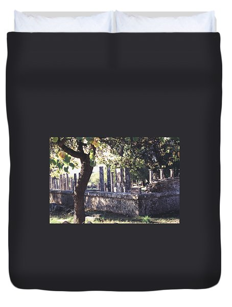 Duvet Cover featuring the photograph Palestra Olympic Site Greece by Tom Wurl