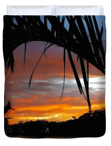 Palm Framed Sunset Duvet Cover by Kaye Menner