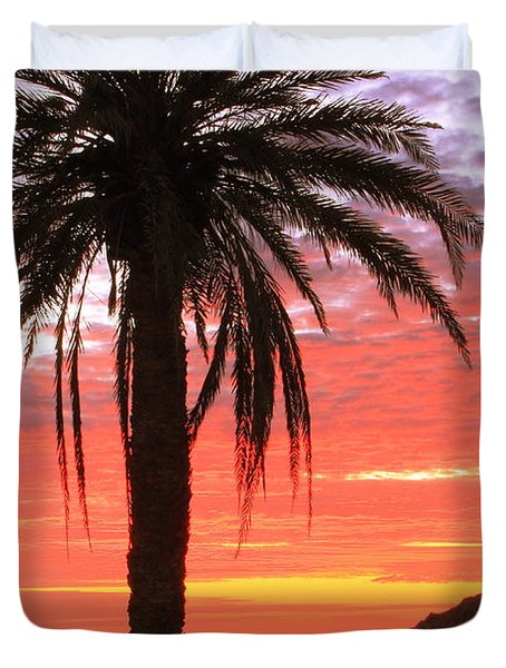 Palm Tree And Dawn Sky Duvet Cover