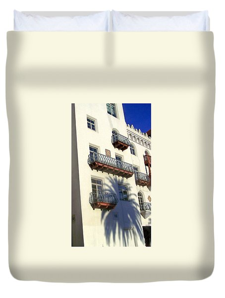 Palm Tree Shadow On The Wall Duvet Cover by Patricia Taylor