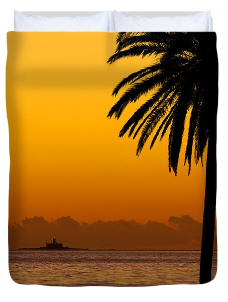 Palm Tree Sunset Duvet Cover by Carlos Caetano