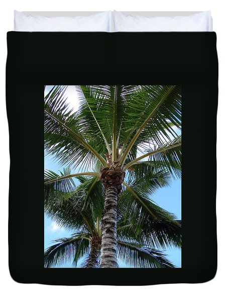 Palm Tree Umbrella Duvet Cover by Athena Mckinzie