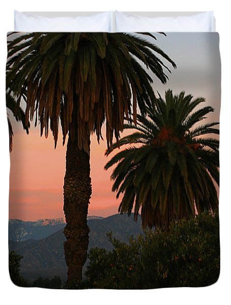 Palm Trees And Orange Trees Duvet Cover