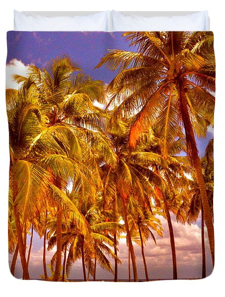 Palms On Half Moon Caye II  Duvet Cover by Valerie Rosen
