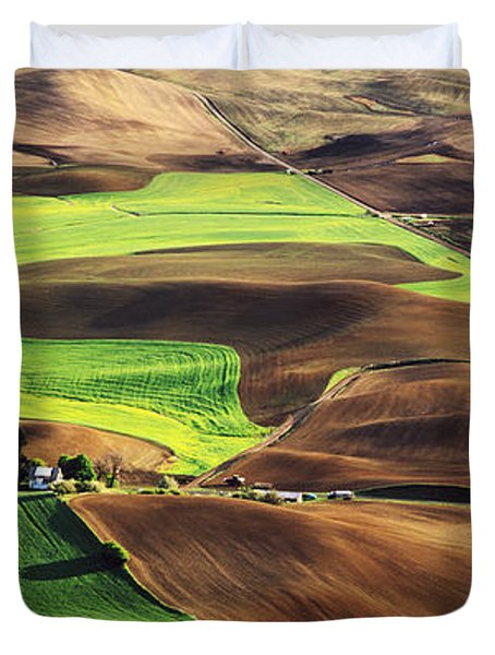 Palouse Farm Country Duvet Cover by Dennis Flaherty and Photo Researchers