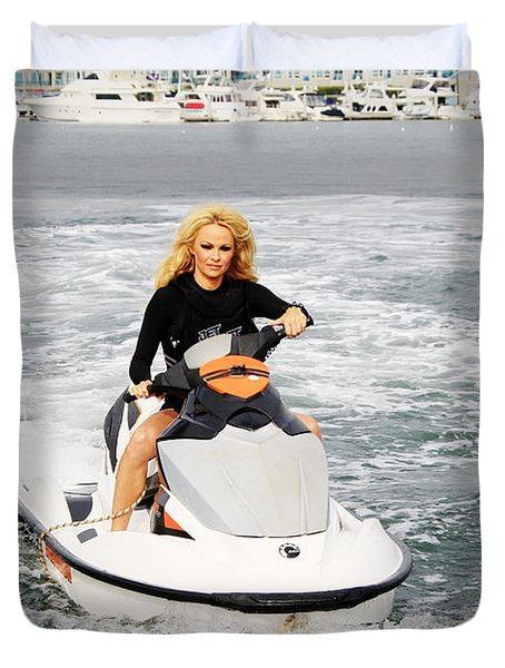 Pamela Anderson Is A Jet Ski Vixen Duvet Cover