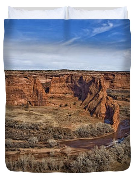 Panorama Of Canyon De Chelley In Mid Duvet Cover