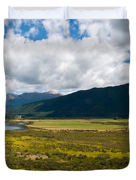 Panorama Of Waiau River Wetland South New Zealand Duvet Cover