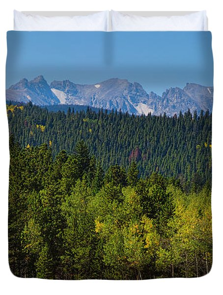 Panorama Scenic Autumn View Of The Colorado Indian Peaks Duvet Cover by James BO  Insogna