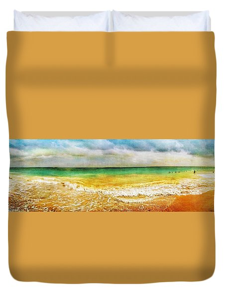 Panoramic Seaside At Tulum Duvet Cover by Tammy Wetzel