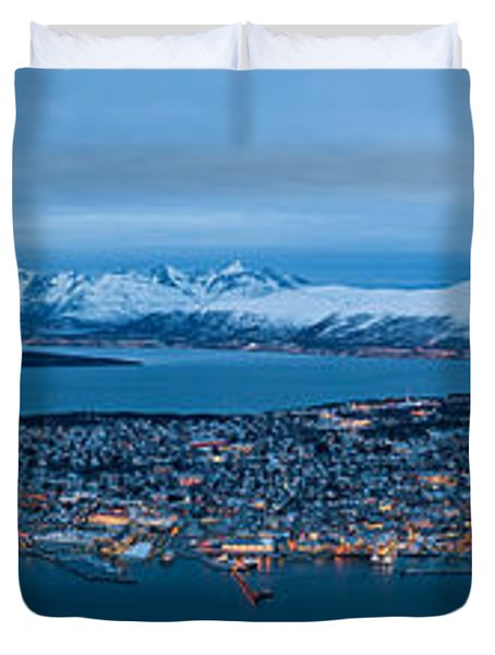 Panoramic View Of Tromso In Norway  Duvet Cover by Ulrich Schade