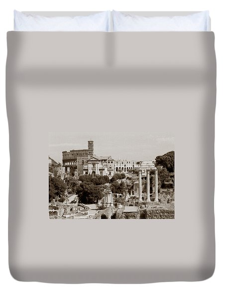 Duvet Cover featuring the photograph Panoramic View Via Sacra Rome by Tom Wurl