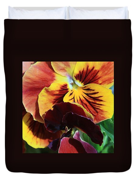 Duvet Cover featuring the photograph Pansies by Donna Corless