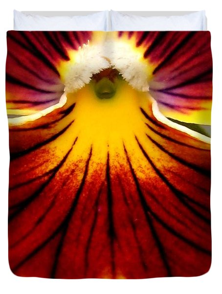 Duvet Cover featuring the photograph Pansy Named Imperial Gold Princess by J McCombie