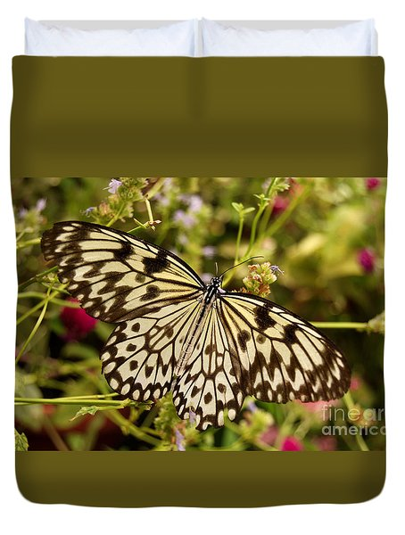 Duvet Cover featuring the photograph Paper Kite Butterfly by Eva Kaufman