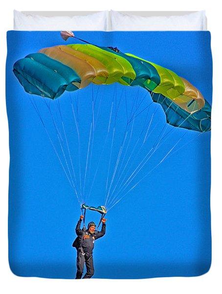 Parachuting Duvet Cover by Karol Livote