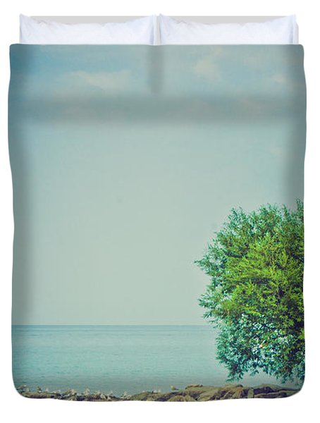 Duvet Cover featuring the photograph Paradise Cove by Sara Frank
