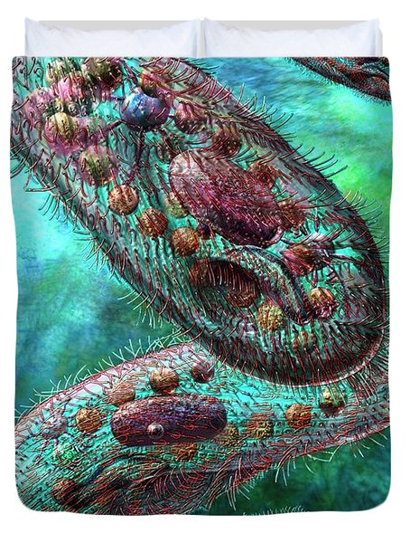 Duvet Cover featuring the digital art Paramecium by Russell Kightley
