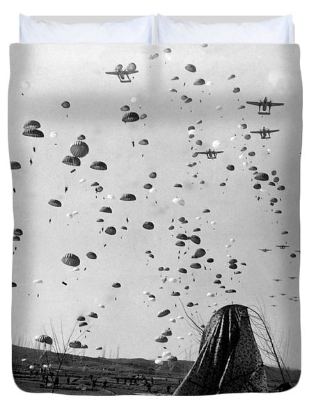 Paratroopers Jump From From C-119s Duvet Cover by Stocktrek Images