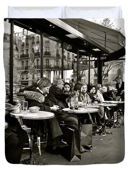 Duvet Cover featuring the photograph Paris Cafe by Eric Tressler