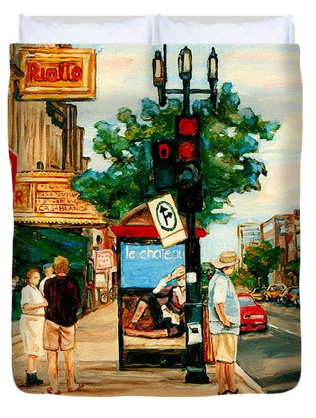 Park Avenue And Bernard Montreal City Scene Duvet Cover by Carole Spandau