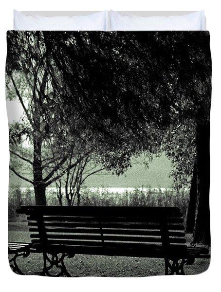 Park Benches In Autumn Duvet Cover by Joana Kruse