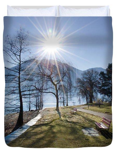 Park On The Lakefront Duvet Cover