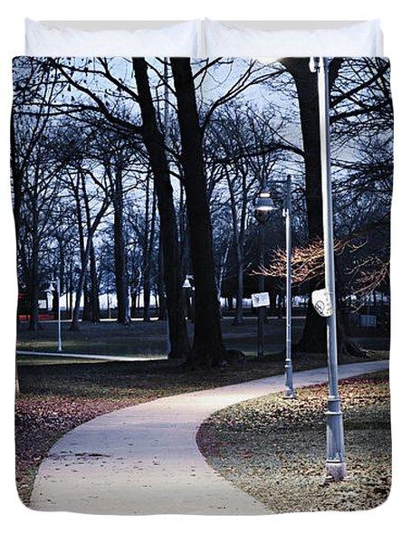 Park Path At Dusk Duvet Cover by Elena Elisseeva