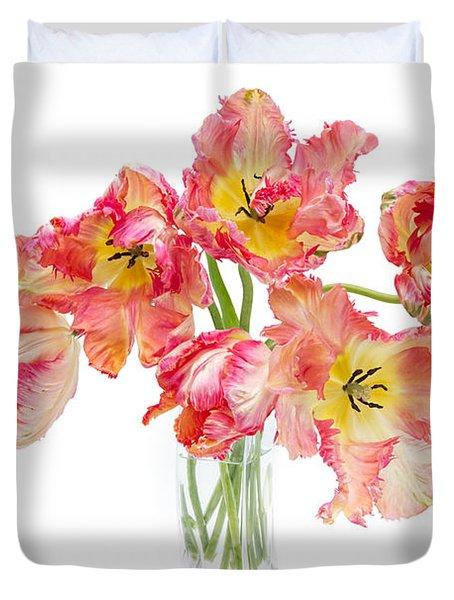 Parrot Tulips In A Glass Vase Duvet Cover by Ann Garrett