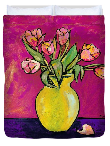 Parrot Tulips In A Yellow Vase Duvet Cover