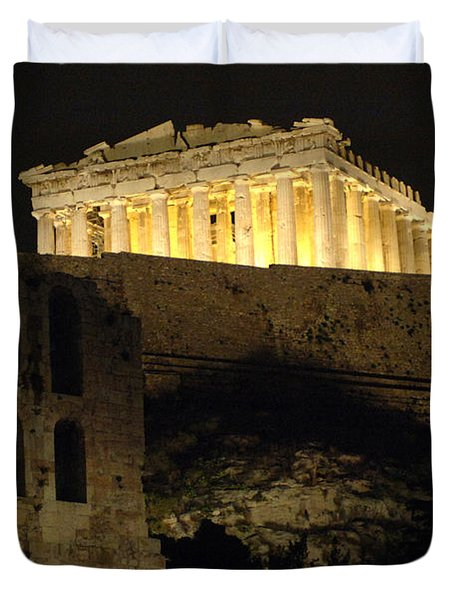 Parthenon Athens Duvet Cover by Bob Christopher