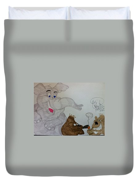 Partying Animals Cartoon Duvet Cover