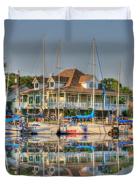 Pascagoula Boat Harbor Duvet Cover by Barry Jones