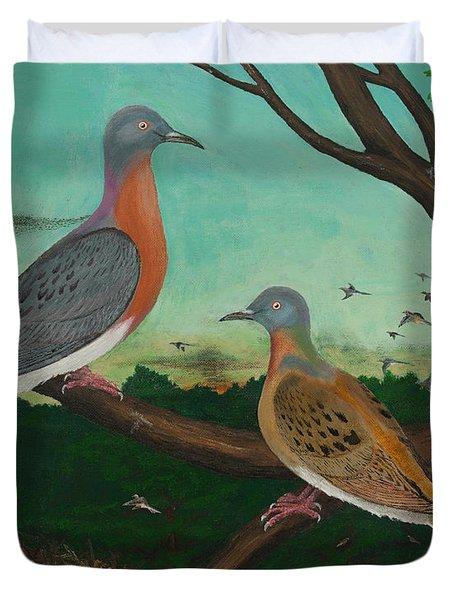 Passenger Pigeon Evening Flight Duvet Cover