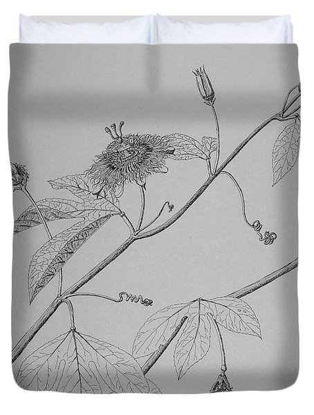 Duvet Cover featuring the drawing Passionflower Vine by Daniel Reed