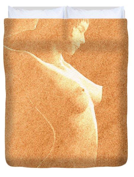 Pastel Chiaroscuro Nude Duvet Cover by Hakon Soreide