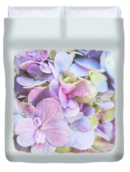 Duvet Cover featuring the photograph Pastel Hydrangeas - Square by Kerri Ligatich