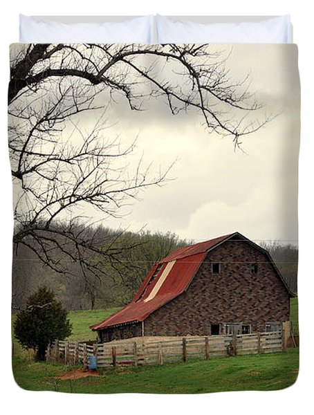 Pasture And Bar  Duvet Cover by Marty Koch