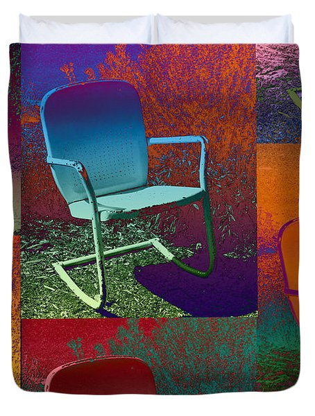 Duvet Cover featuring the photograph Patio Chair by David Pantuso