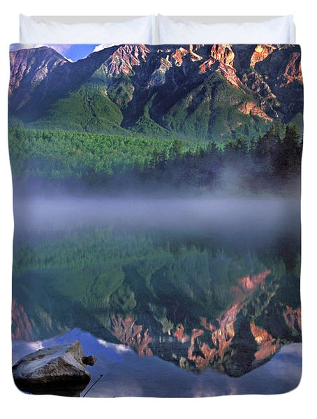 Patricia Lake Banff Canada Duvet Cover by Dave Mills