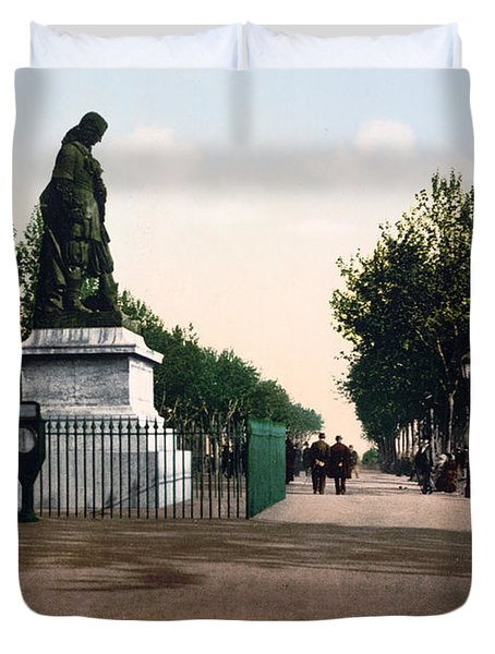 Paul Riquet Statue And The Allees In Beziers - France Duvet Cover by International  Images