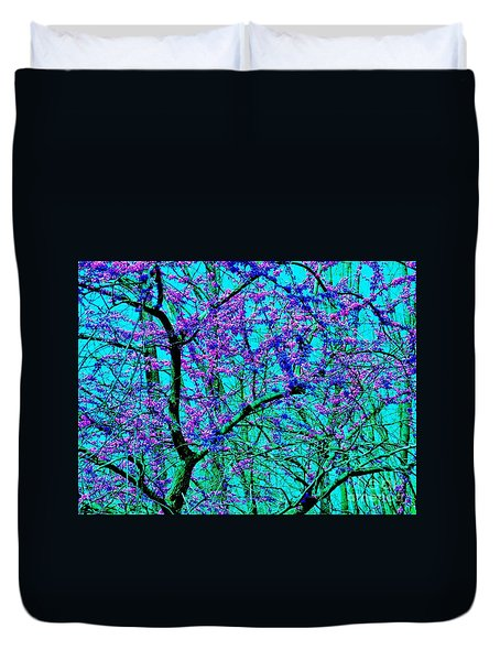 Duvet Cover featuring the photograph Spring Arrives - Peace Tree by Susan Carella