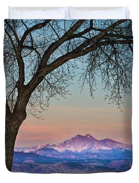Peaceful Early Morning Sunrise Longs Peak View Duvet Cover by James BO  Insogna