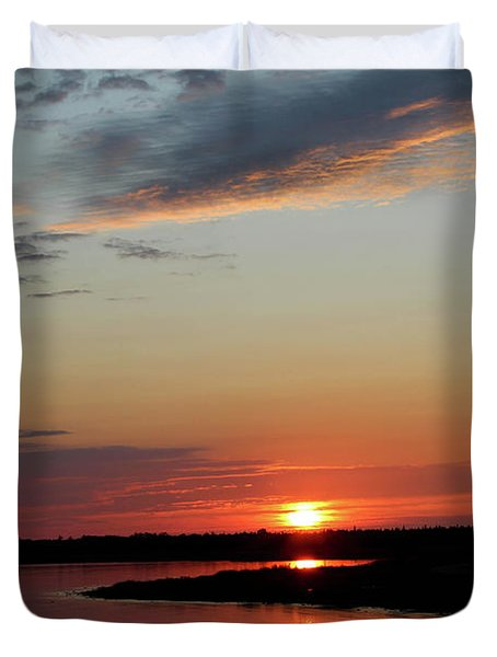 Duvet Cover featuring the photograph Peaceful Sunset by Rachel Cohen