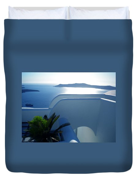 Duvet Cover featuring the photograph Peaceful Sunset Santorini by Colette V Hera  Guggenheim
